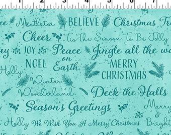 O Christmas Tree - Holiday Wishes - Aqua - 1/4 yard