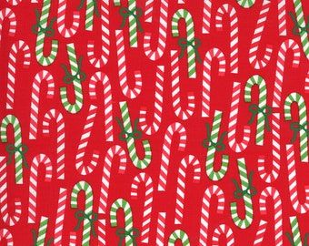 Merry Bright Candy Canes - Poinsettia Red - 1/4 yard