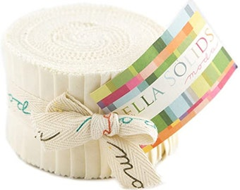Bella Solids Junior Jelly Roll - White