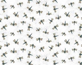 Botanical Journal White Dragonflies - 1/4 yard