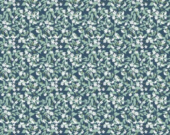 Whimsical Romance - Willow Denim - 1/4 yard
