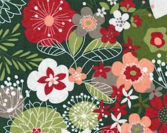 Hustle and Bustle Carols Modern Floral Large Print - Pine - 1/4 yard