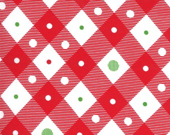 Merry Bright Check - Poinsettia Red - 1/4 yard