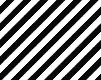 Hometown Halloween Witchy Stripe - Black - 1/4 yard