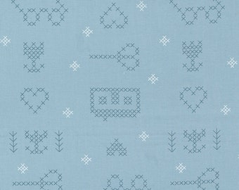Make Time - Cross Stitch Sampler - Bluebell - 1/4 yard