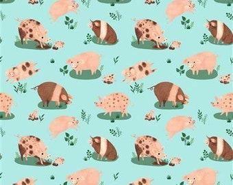 Dale Farm Happy Pigs - Light Aqua - 1/4 yard
