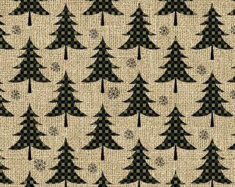 Jingle Bell Christmas - Plaid Trees Green/Tan - 1/4 yard