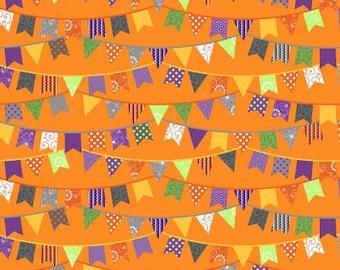 Hometown Halloween Halloween Flags - Orange - 1/4 yard