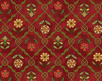 Jacobean Joyeaux Floral Lattice- Red - 1/4 yard