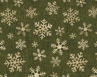 Jingle Bell Christmas - Crossroads Snowflake Green - 1/4 yard