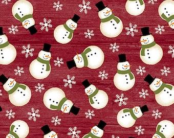 Jingle Bell Christmas - Crossroads Snowman Red - 1/4 yard