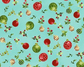 O Christmas Tree - Ornaments - Aqua - 1/4 yard