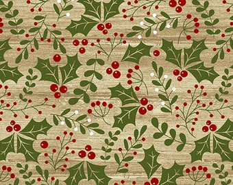 Jingle Bell Christmas - Holly Daze Beige - 1/4 yard