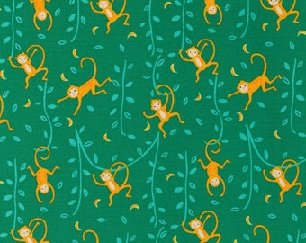 Jungle Paradise Funny Monkeys - Monstera - 1/4 yard