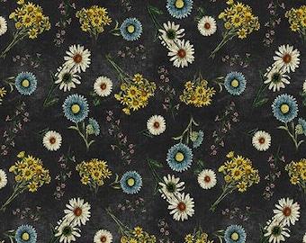 Botanical Journal Digital Floral Black - 1/4 yard