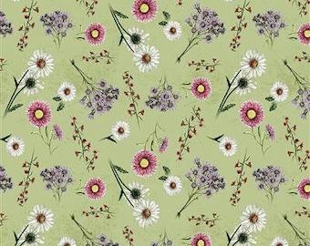 Botanical Journal Digital Floral Light Olive - 1/4 yard