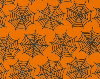 Holiday Essentials Halloween - Spiderwebs - Pumpkin (Orange) - 1/4 yard