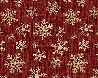 Jingle Bell Christmas - Crossroads Snowflake Red - 1/4 yard