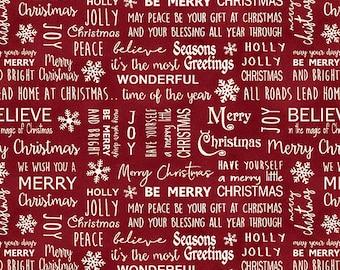 Jingle Bell Christmas - Believe in Magic Berry - 1/4 yard