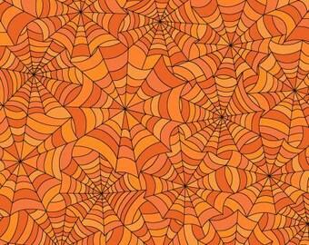 Hometown Halloween Spookywebs - Orange - 1/4 yard