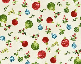 O Christmas Tree - Ornaments - Light Cream - 1/4 yard