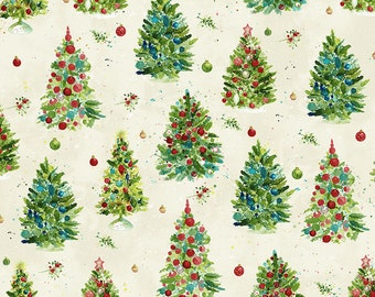 O Christmas Tree - Trees - Light Cream - 1/4 yard