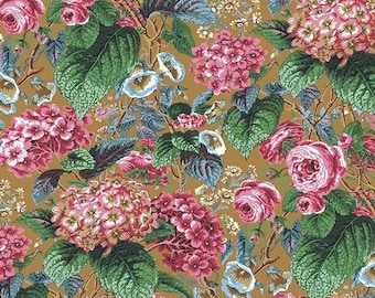 Rose and Hydrangea - Ochre - 1/4 yard