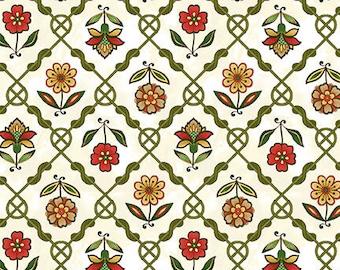 Jacobean Joyeaux Floral Lattice- Cream - 1/4 yard