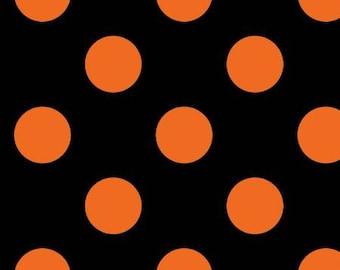 Hometown Halloween Dots - Black/Orange - 1/4 yard