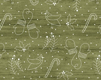 Jingle Bell Christmas - Whimsical Winter Green - 1/4 yard