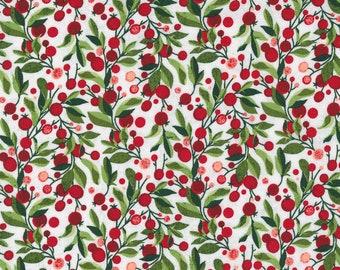 Hustle and Bustle Garden Modern Floral Blender Greenery Berry Tonal - Blizzard - 1/4 yard