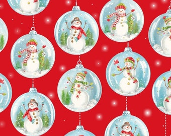 Snow Day Snowglobes - Red - 1/4 yard