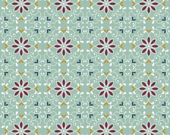 Whimsical Romance - Scroll Mint - 1/4 yard