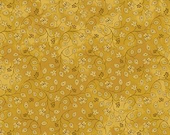 Jacobean Joyeaux Mini Bud Monotone - Gold - 1/4 yard