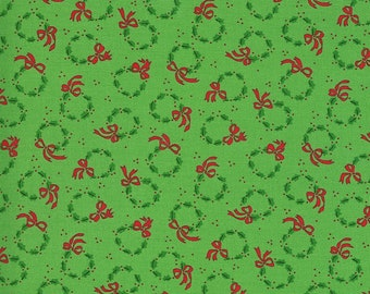 Merry Bright Wreaths - Ever Green - 1/4 yard