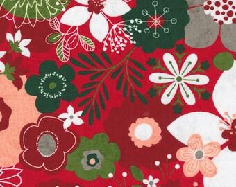 Hustle and Bustle Carols Modern Floral Large Print - Candy - 1/4 yard
