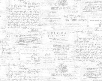 Botanical Journal Mist Gray Adverts - 1/4 yard