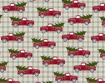 Jingle Bell Christmas - Red Truck Holiday Steel - 1/4 yard