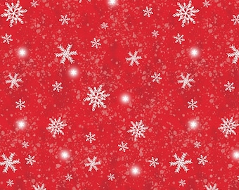 Snow Day Snowstorm - Red - 1/4 yard
