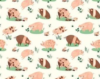 Dale Farm Happy Pigs - Light Cream - 1/4 yard