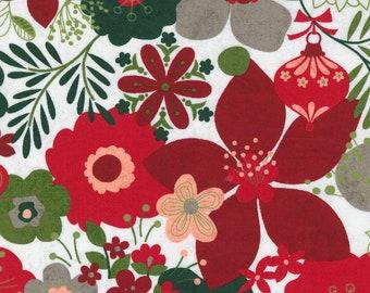 Hustle and Bustle Carols Modern Floral Large Print - Blizzard - 1/4 yard