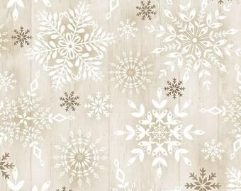 Stamped Snowflakes on Wood - 1/4 yard
