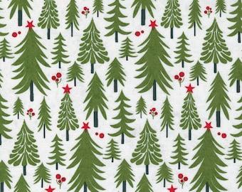 Hustle and Bustle Toboggan Pine Tree  - Blizzard - 1/4 yard