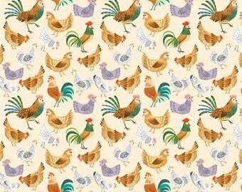 Dale Farm - Chickens - Cream - 1/4 yard