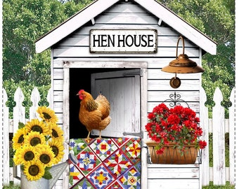 Hen House Fabric Panel