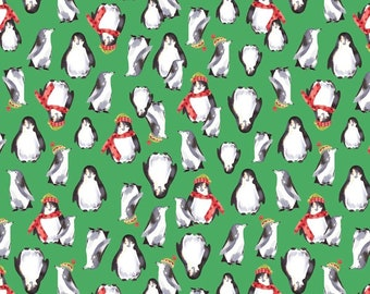 Snow Day Penguins - Green - 1/4 yard