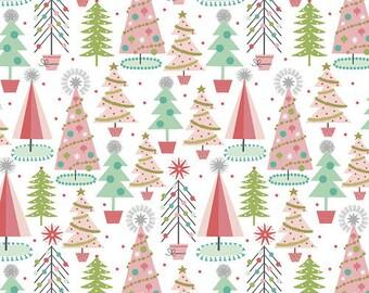 Fa La La Christmas Spruces - White - 1/4 yard