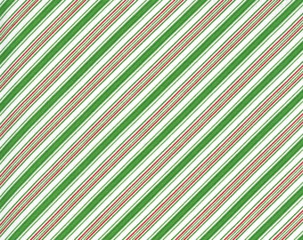 Merry Bright Stripe - Ever Green - 1/4 yard