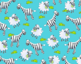 Noah's Story - Zebra and Sheep - 1/4 yard