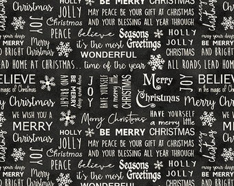 Jingle Bell Christmas - Believe in Magic Gunmetal - 1/4 yard
